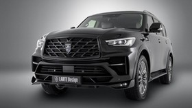 infiniti qx80, infiniti, black, headlight, side view - wallpapers, picture