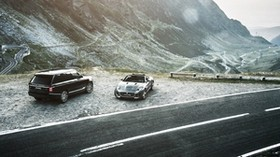 jaguar f-type, range rover, mountains, road - wallpapers, picture