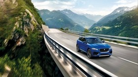 jaguar f-pace, jaguar, crossover, movement, mountains, the bridge - wallpapers, picture