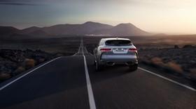 jaguar f-pace svr, jaguar, rear view, road, movement - wallpapers, picture
