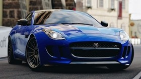 jaguar f-type, jaguar, sports car, race, blue, front view - wallpapers, picture
