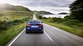 jaguar xe, jaguar, movement, speed, blue, car - wallpapers, picture