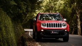 jeep renegade, jeep, car, SUV, red, front view - wallpapers, picture