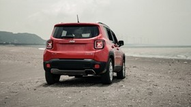 jeep renegade, jeep, SUV, red, rear view, beach, off-road - wallpapers, picture