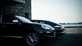 cayenne, panamera, porsche, building, porsche, black - wallpapers, picture