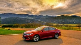 kia, optima, red, side view, mountains - wallpapers, picture