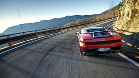 red, movement, sports car, lamborghini - wallpapers, picture