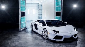 lamborghini, aventador, white, front view - wallpapers, picture