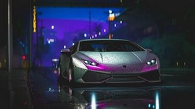lamborghini aventador, lamborghini, car, sports car, gray, wet, street, night - wallpapers, picture