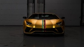 lamborghini aventador, lamborghini, sports car, front view, golden - wallpapers, picture