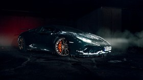 lamborghini aventador, lamborghini, sports car, snow, icy, black, dark, side view - wallpapers, picture
