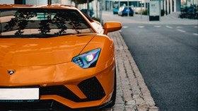 lamborghini aventador, lamborghini, sports car, car, orange, front view - wallpapers, picture