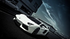 lamborghini, aventador, lp700-4, white, lamborghini, aventador, white, side view, road, marking, building, windows, sky, clouds - wallpapers, picture