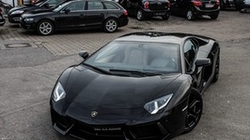 lamborghini, aventador, lp700-4, black, lamborghini, aventador, black, front view - wallpapers, picture