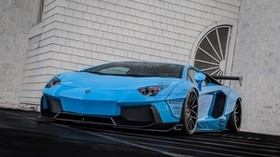 lamborghini, aventador, lp700-4, blue, front view - wallpapers, picture