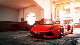 lamborghini, aventador, lp 700-4, red - wallpapers, picture