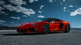 lamborghini, aventador-v, lp 740-4, red, side view - wallpapers, picture