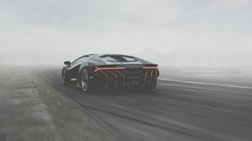 lamborghini centenario, lamborghini, sports car, black, rear view, track, fog - wallpapers, picture