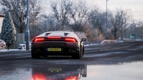 lamborghini huracan, lamborghini, race, sports car, rear view - wallpapers, picture