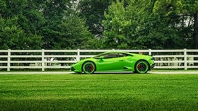lamborghini, huracan, lp610-4, green, side view - wallpapers, picture