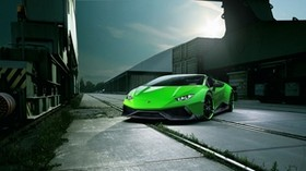 lamborghini, huracan, spyder, green, front view - wallpapers, picture