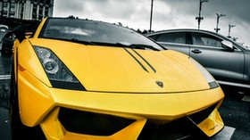 lamborghini, lamborghini, yellow, rain, street - wallpapers, picture