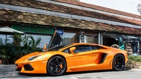 lamborghini, lp 700-4, orange, auto, side view - wallpapers, picture