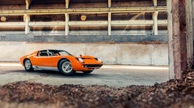 lamborghini, miura s, orange, auto, side view - wallpapers, picture