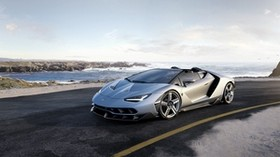 lamborghini, roadster, road, sea, stones - wallpapers, picture