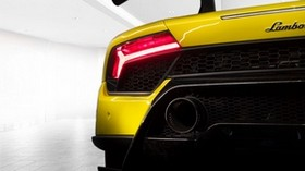 lamborghini, sports car, yellow, rear view, flashlight - wallpapers, picture