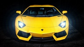 lamborghini, yellow, sports car, headlights, front view - wallpapers, picture