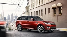 land rover, range rover, off-road vehicle, red, city - wallpapers, picture