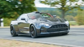 mansory cyrus, 2009, black, side view, style, sport, aston martin, auto, speed, nature, trees, asphalt - wallpapers, picture