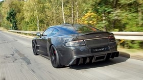 mansory cyrus, 2009, black, rear view, sport, aston martin, trees, speed - wallpapers, picture