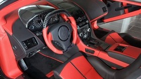mansory cyrus, 2009, red, salon, interior, steering wheel, speedometer, aston martin - wallpapers, picture