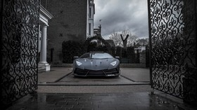mansory, lamborghini, aventador, black, gate, front view - wallpapers, picture