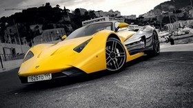 marussia, yellow, gray, city, front bumper - wallpapers, picture