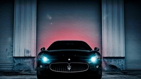 maserati, lights, wall, car - wallpapers, picture