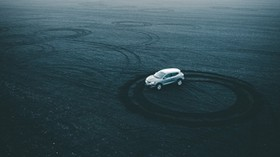 machine, drift, platform, sand, tracks, circles - wallpapers, picture