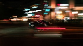 machine, movement, speed, motion blur, lights, night - wallpapers, picture