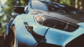 machine, headlight, close-up, front view, blue - wallpapers, picture