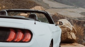 car, convertible, white, rear view, mountains - wallpapers, picture