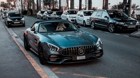 car, convertible, sports, dark metallic, front view - wallpapers, picture