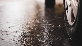 machine, wheel, puddle, rain, drops - wallpapers, picture