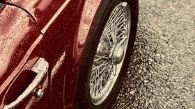 machine, red, wet, wheel, chrome - wallpapers, picture