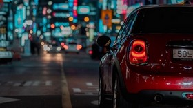car, red, night city, street, lights - wallpapers, picture