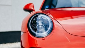 machine, red, front view, headlight, close-up - wallpapers, picture