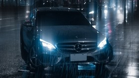 car, night, rain, light, street - wallpapers, picture