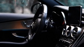 machine, salon, interior, black, control panel, steering wheel - wallpapers, picture