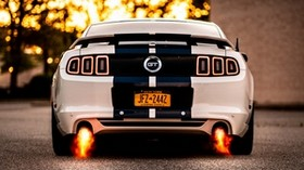 car, sports car, white, rear view, fire, power - wallpapers, picture